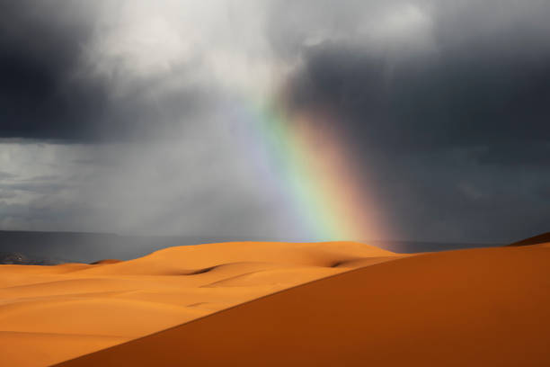 Sahara desert sand dunes with rainbow against dark, cloudy, rainy sky. stock photo