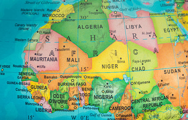 Saharian and sub-Saharian Nations Map Saharian and sub-Saharian Nations close up  in an small world globe côte d'ivoire stock pictures, royalty-free photos & images