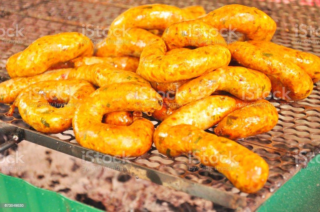 Sai-Aour,fried round asgaew,Lanna culture food stock photo
