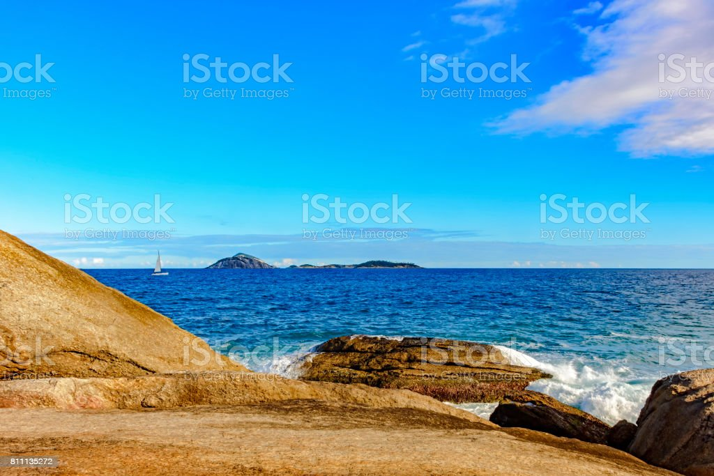 Saiboat at Ipanema horizon stock photo