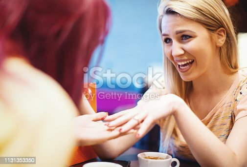 Girlfriends sitting in a cafe. Young woman is showing an engagement ring to her girlfriend.