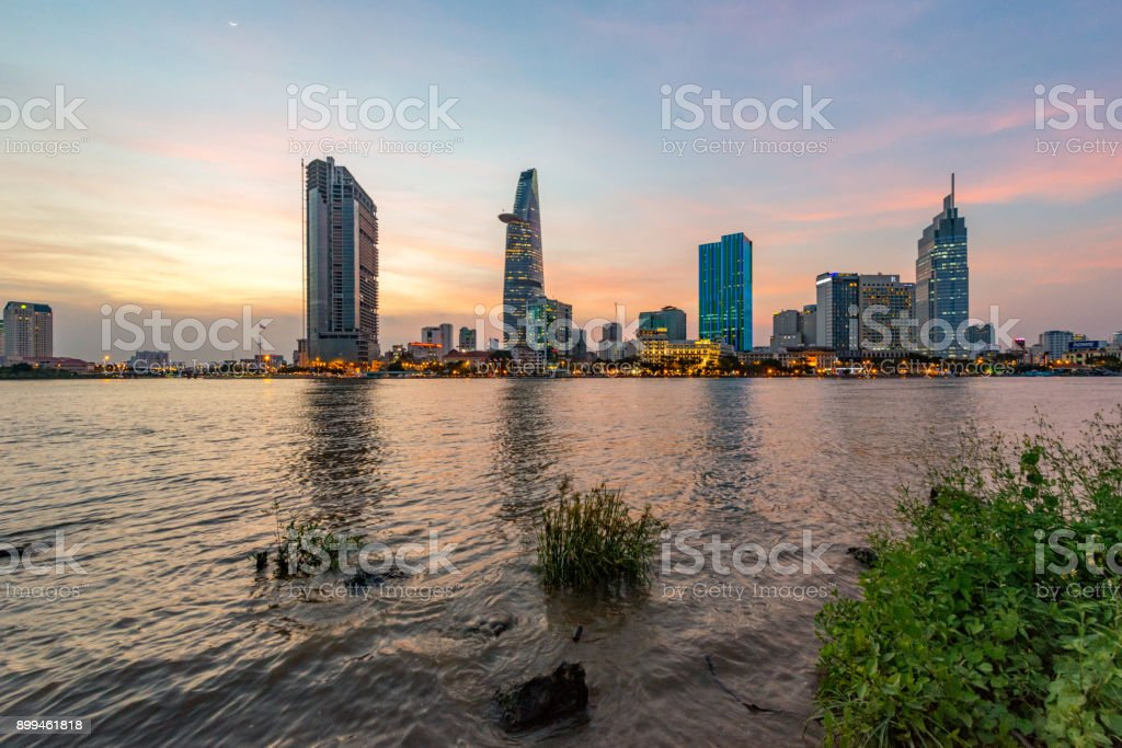 Saigon - Vietnam. City wiec on sunset in Ho Chi Minh City - Vietnam. stock photo