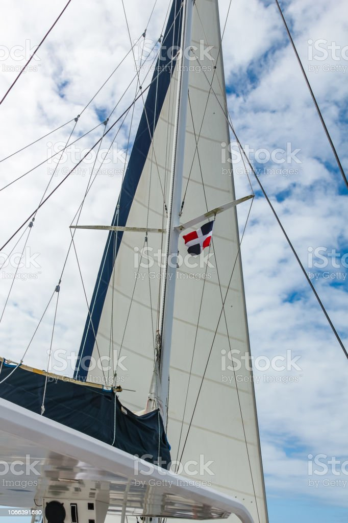 Sail And Rigging Yacht Against The Sky In The Dominican