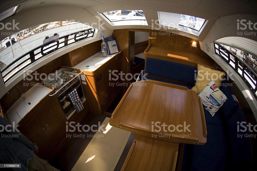Velero baot interior foto de stock libre de derechos