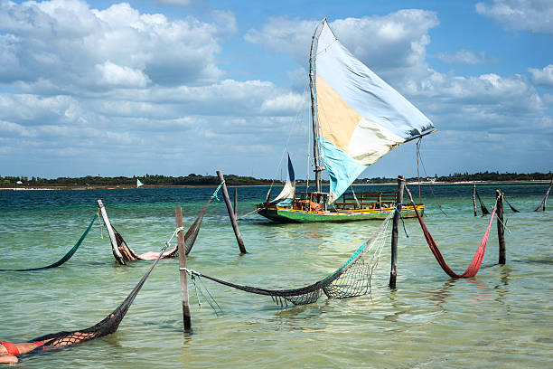 Sail boat and hammocks, Jericoacoara, Brazil – Foto
