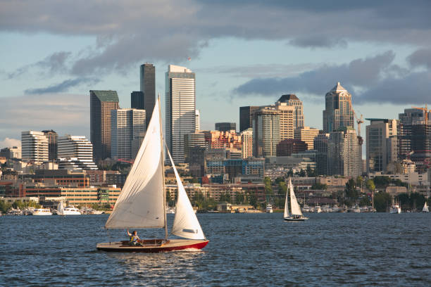 Sail boat and Seattle skyline stock photo