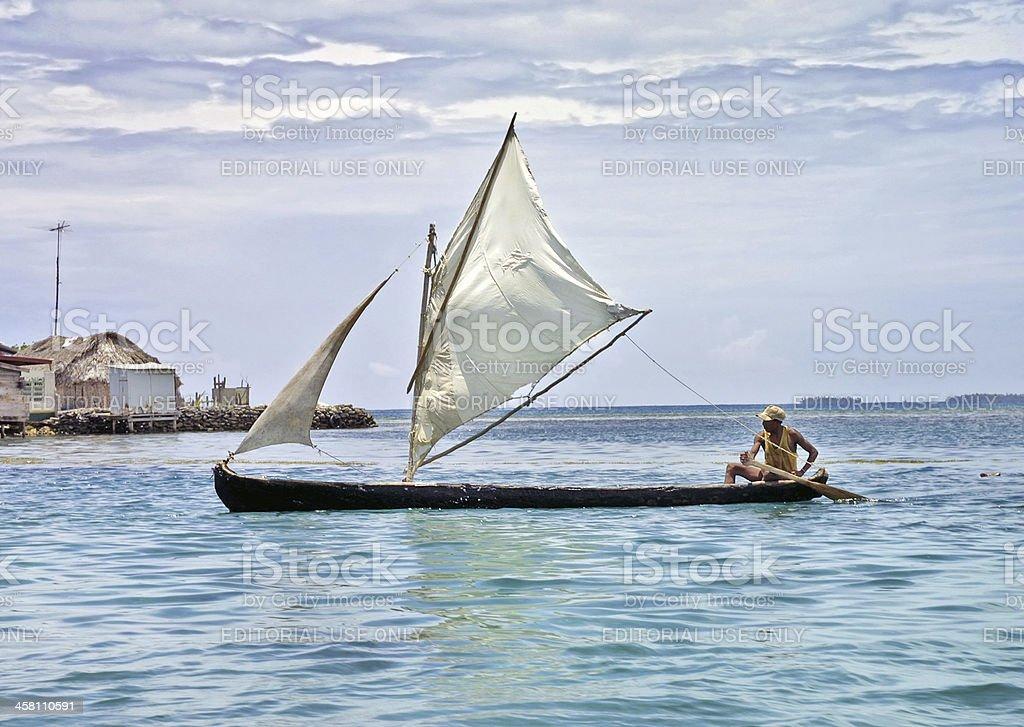 Sail Boat at San Blas stock photo