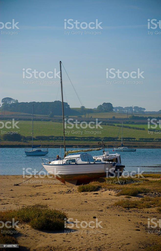Sail boat in autumn stock photo