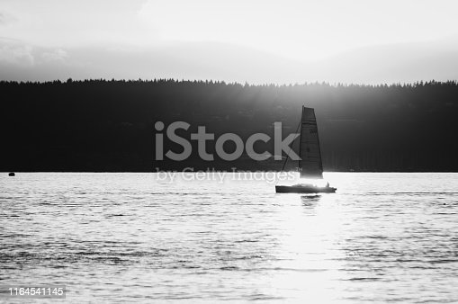 Sail Boat at sunset in English Bay, Vancouver, British Columbia
