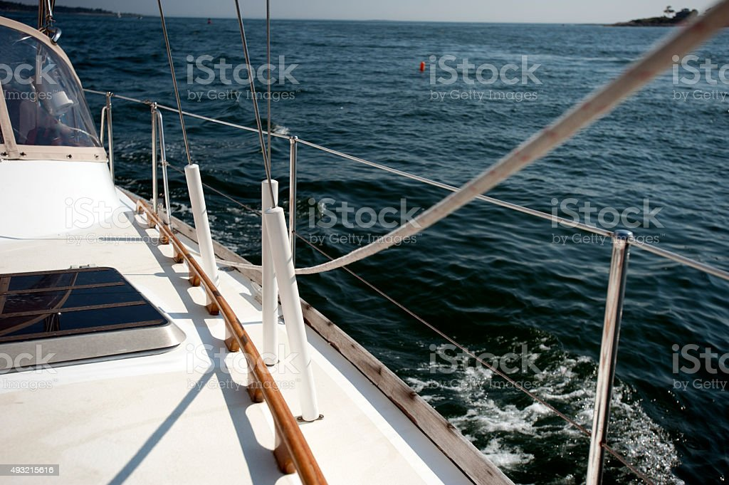 Sail boat on a sunny day stock photo