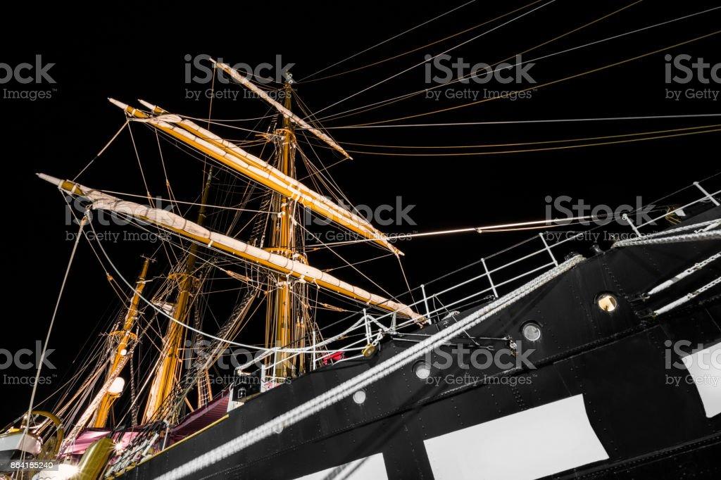Sail boat on shore royalty-free stock photo