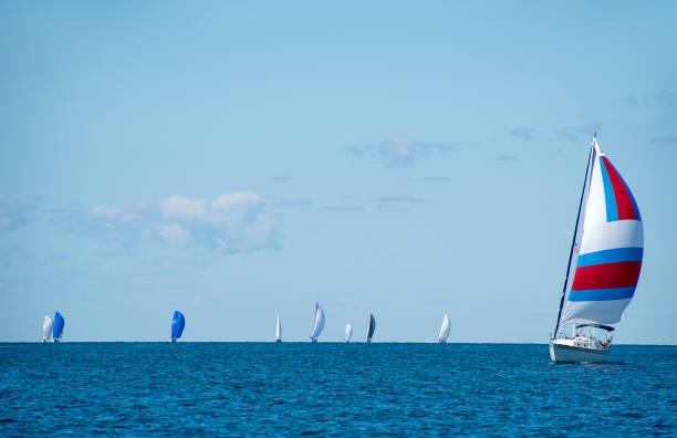 sail boat race on lake michigan - lake michigan stock pictures, royalty-free photos & images