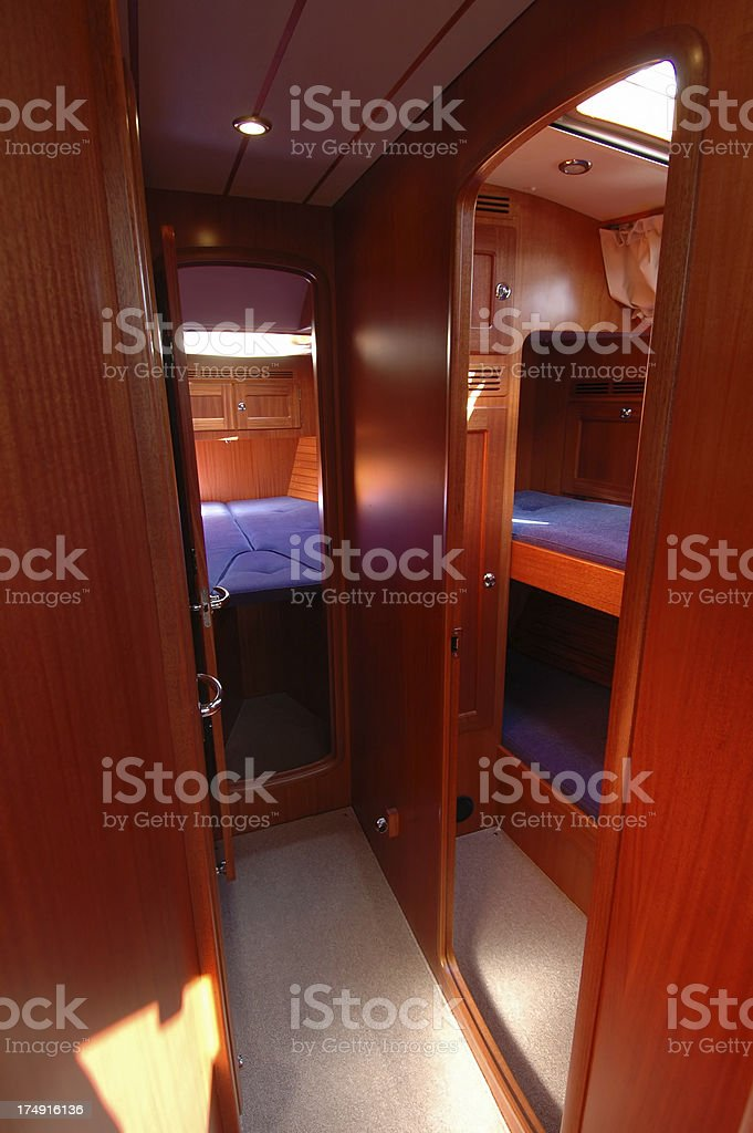Sail boat - sleeping quarters stock photo