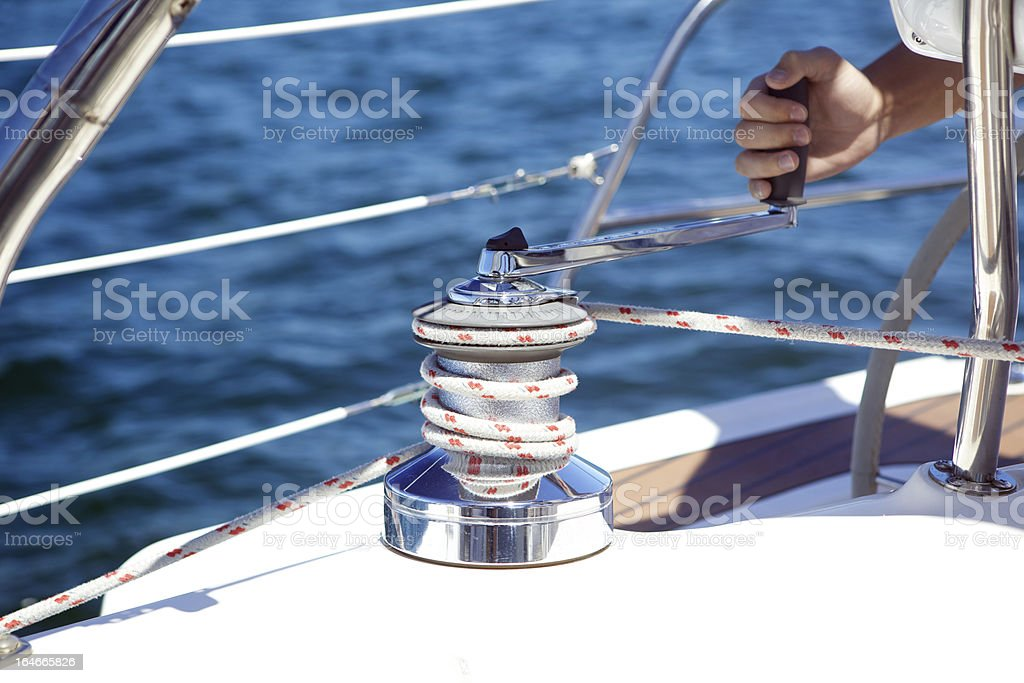 Sail Boat Winch stock photo