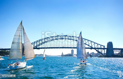 Sailboats on a sunny day at Sydney Harbor, Australia.   Iconic Sydney Harbor Bridge in the background.  Blue tint applied to enhance the sunny blue sky day.