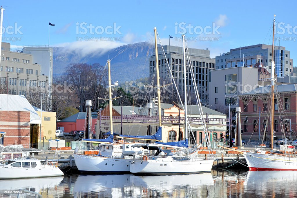 Sail Boats and Reflection in Hobart Harbour stock photo