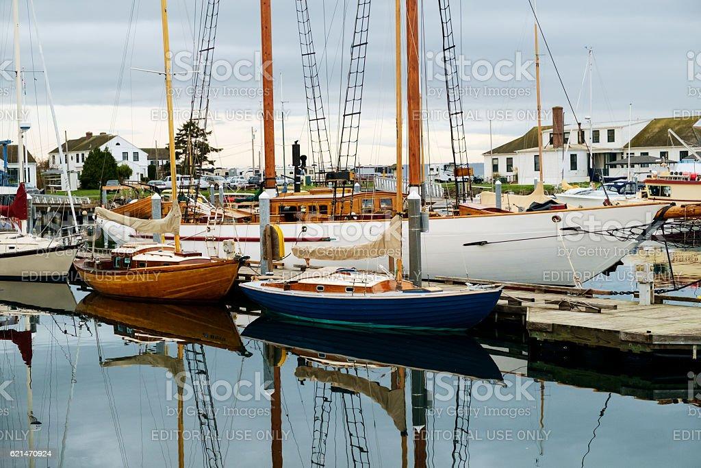 Sail boats in marina stock photo