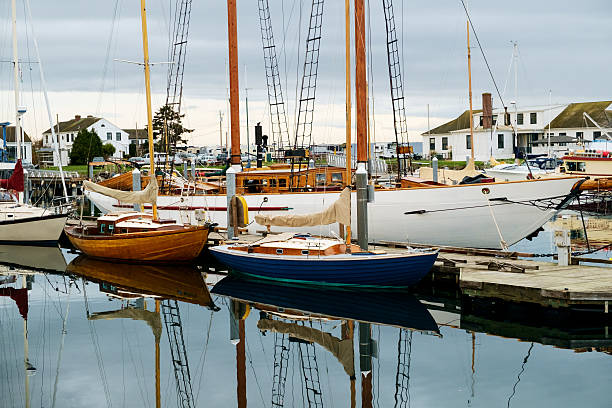 Sail boats in marina stock photo