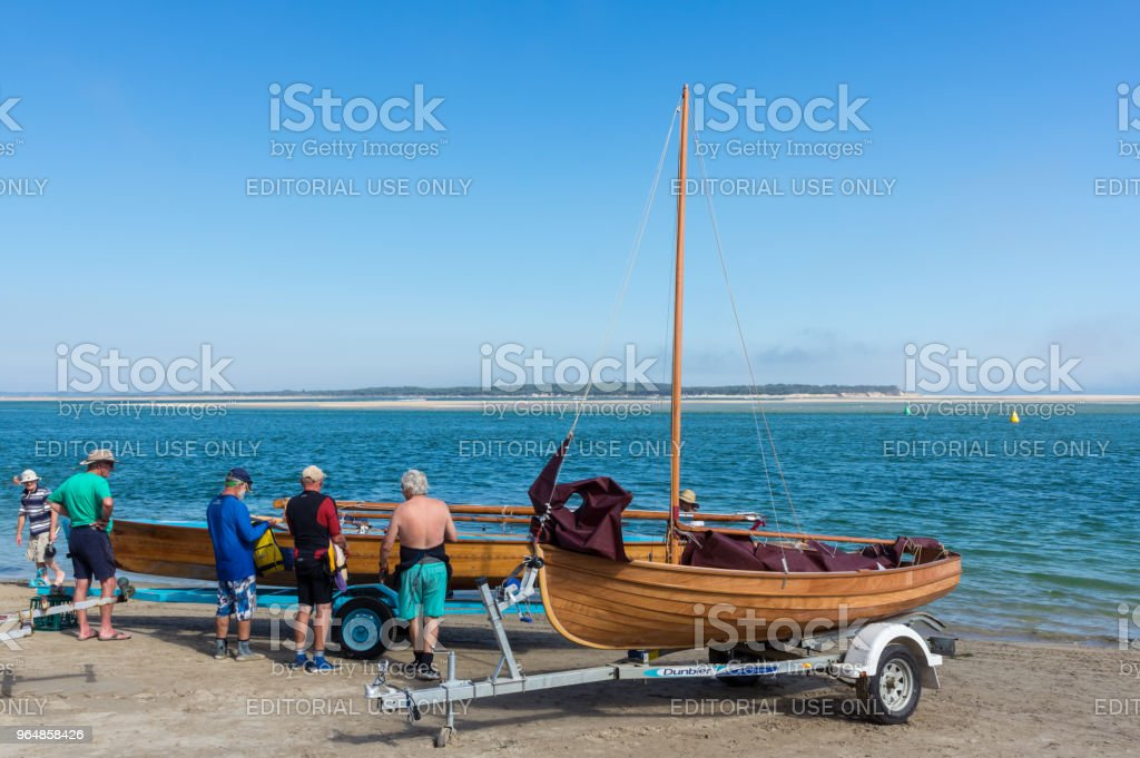 Sail boats on the shore of Inverloch beach in South Gippsland. royalty-free stock photo