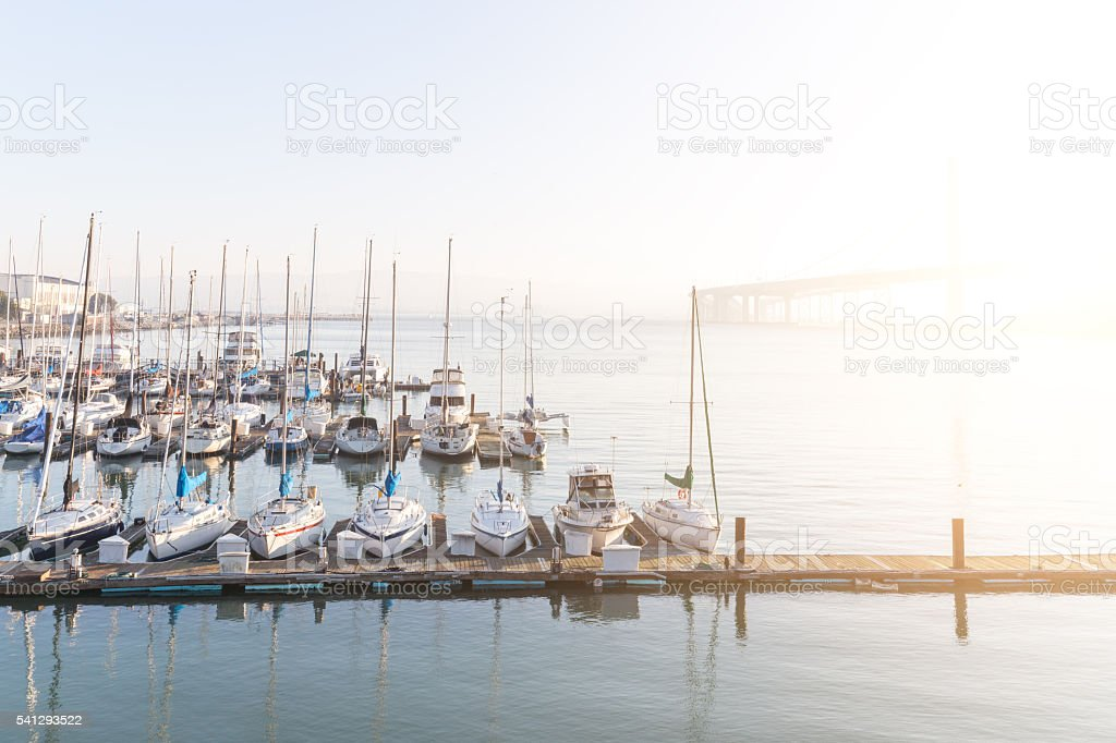 sail boats on tranquil water in bay of san francisco stock photo