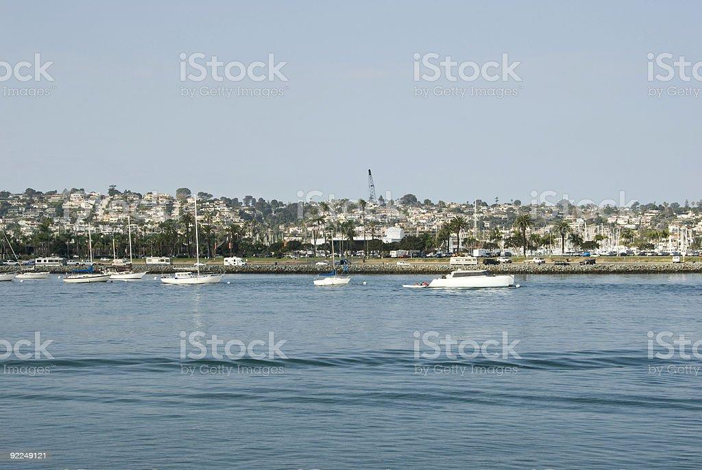 Sail Boats-moored at San Diego Bay stock photo
