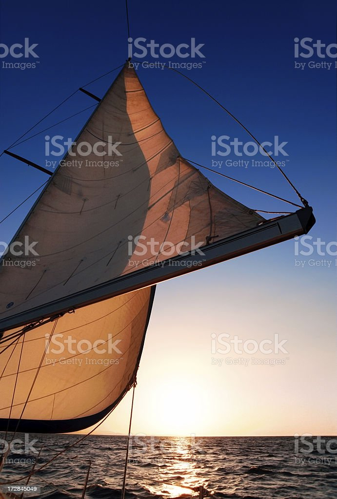 Sail in sunset light royalty-free stock photo