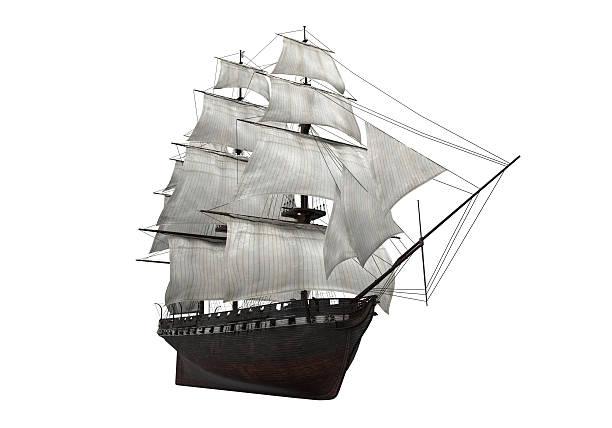 sail ship isolated - industrieel schip stockfoto's en -beelden