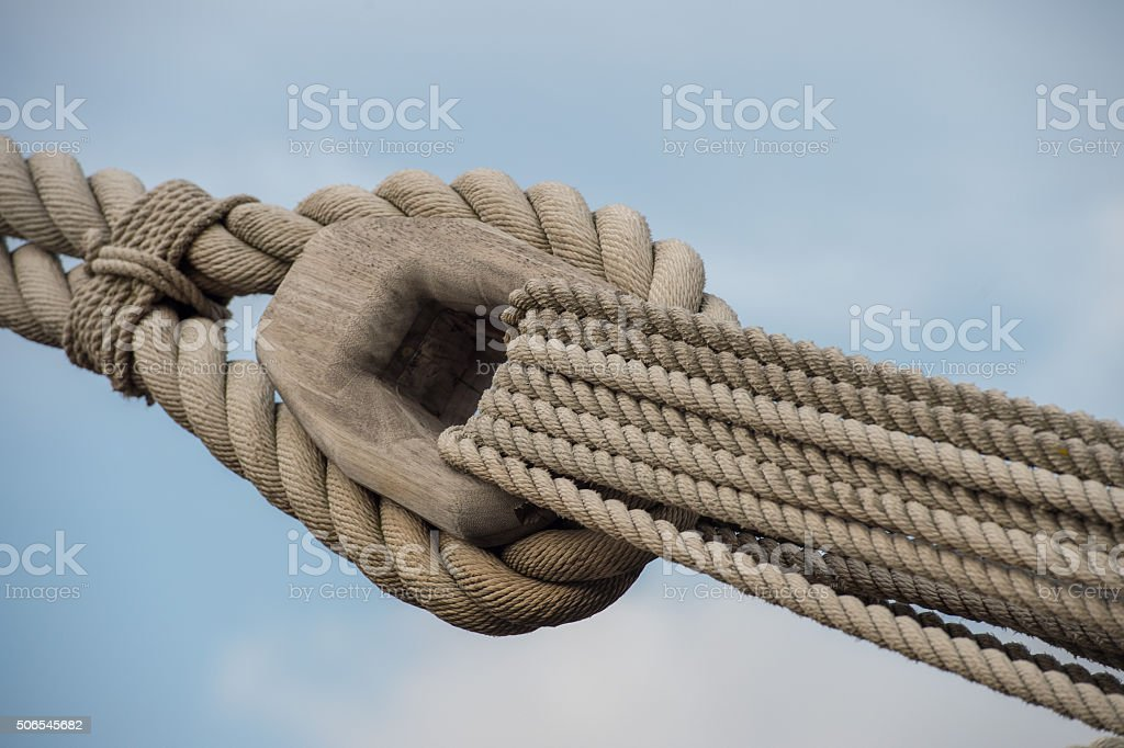 sail ship shrouds detail on sky stock photo