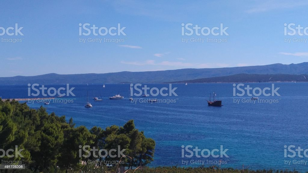 Sail ships in the sea stock photo