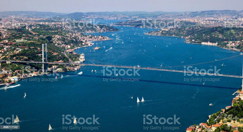 Sailboat activity at Bosphorus  Istanbul , TURKEY stock photo