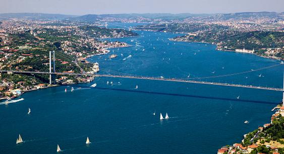 Sailboat Activity At Bosphorus Istanbul Turkey Stock Photo - Download Image Now