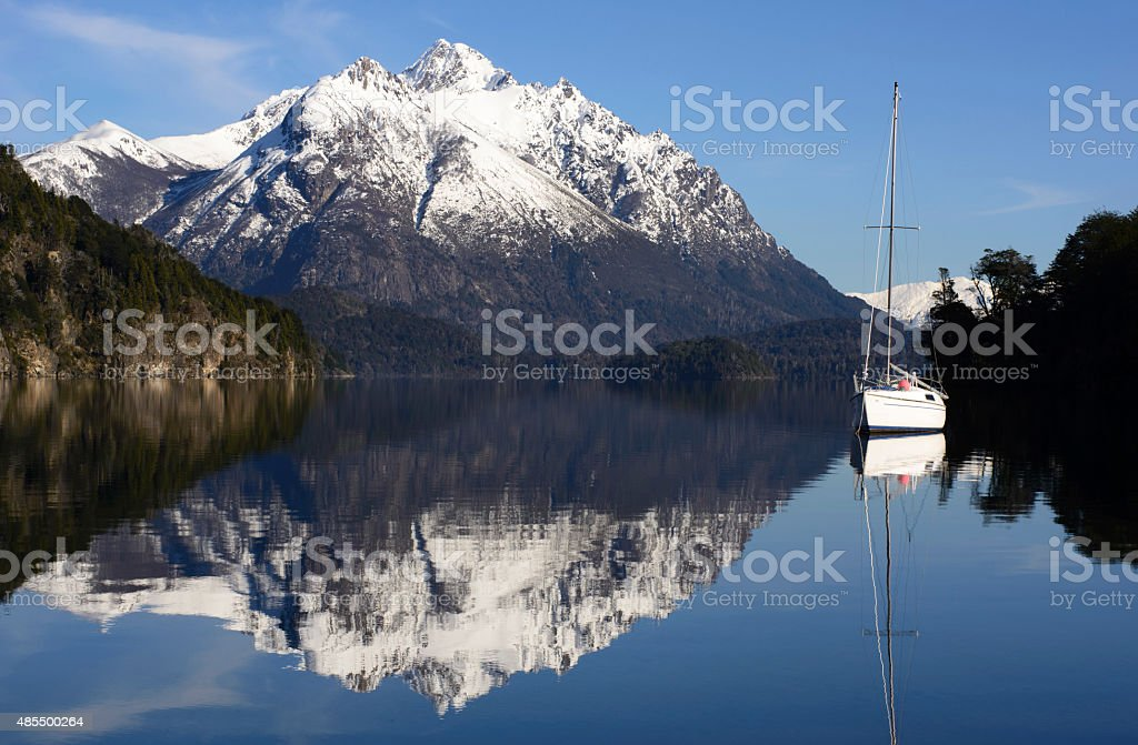 Sailboat Anchored in a Bay of Patagonia, Bariloche, Argentina stock photo