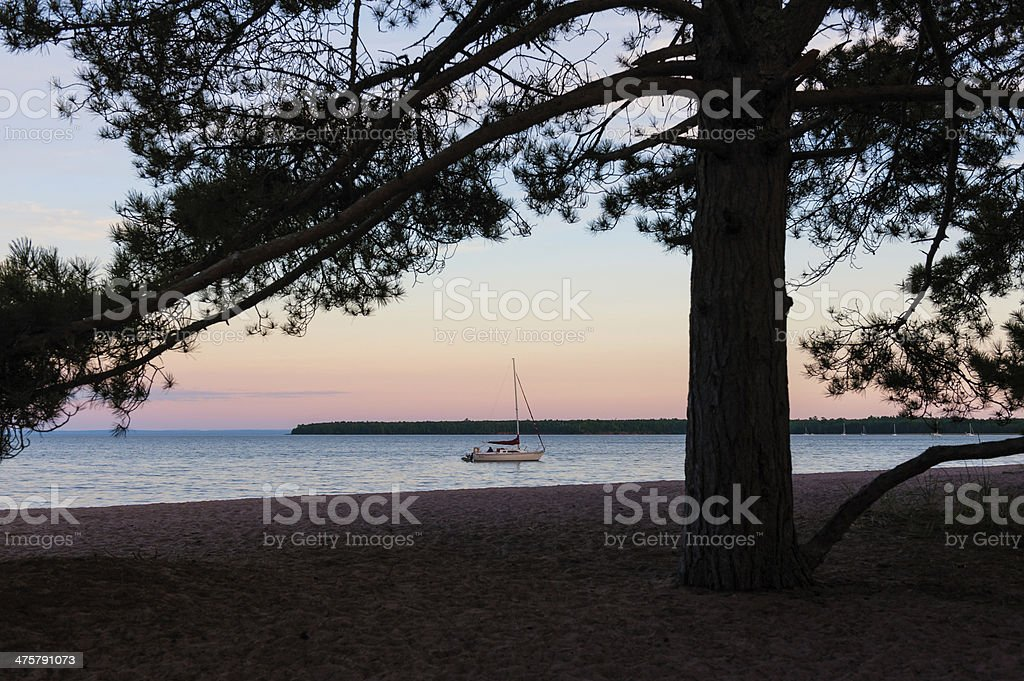 Sailboat anchored in bay in the Apostle Islands, Wisconsin stock photo