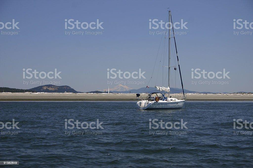 Sailboat Anchored in British Columbia stock photo