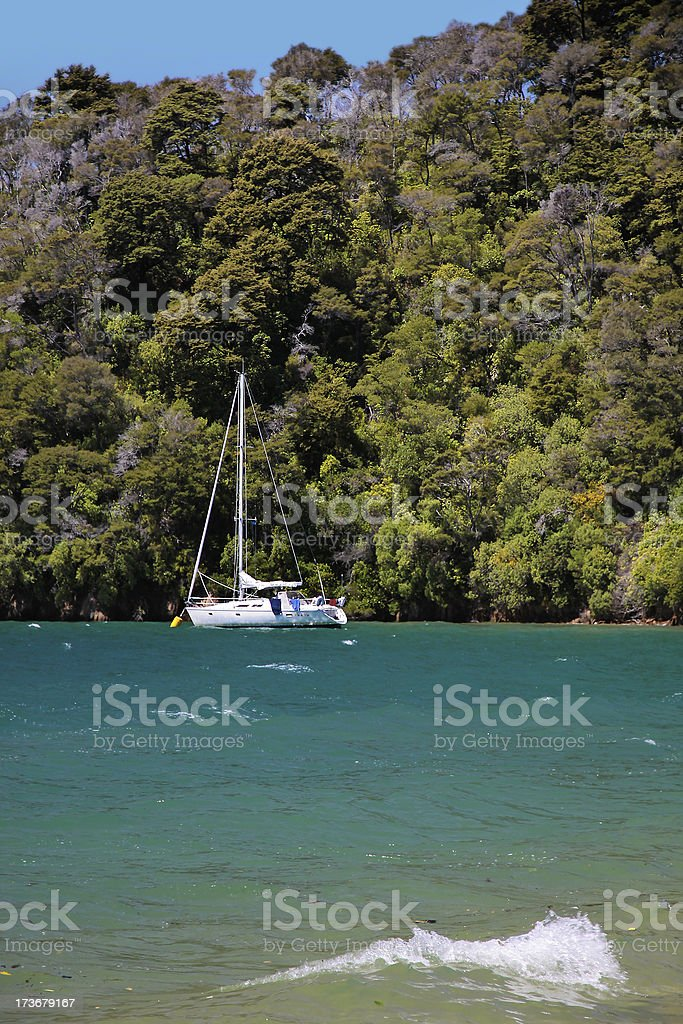 Sailboat and beach in the Marlborough Sounds royalty-free stock photo