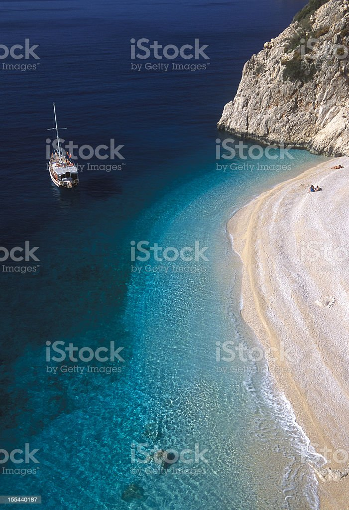Sailboat and Beach stock photo