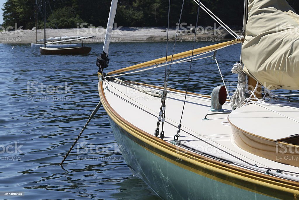 Sailboat at Anchor, Center Harbor, Maine royalty-free stock photo