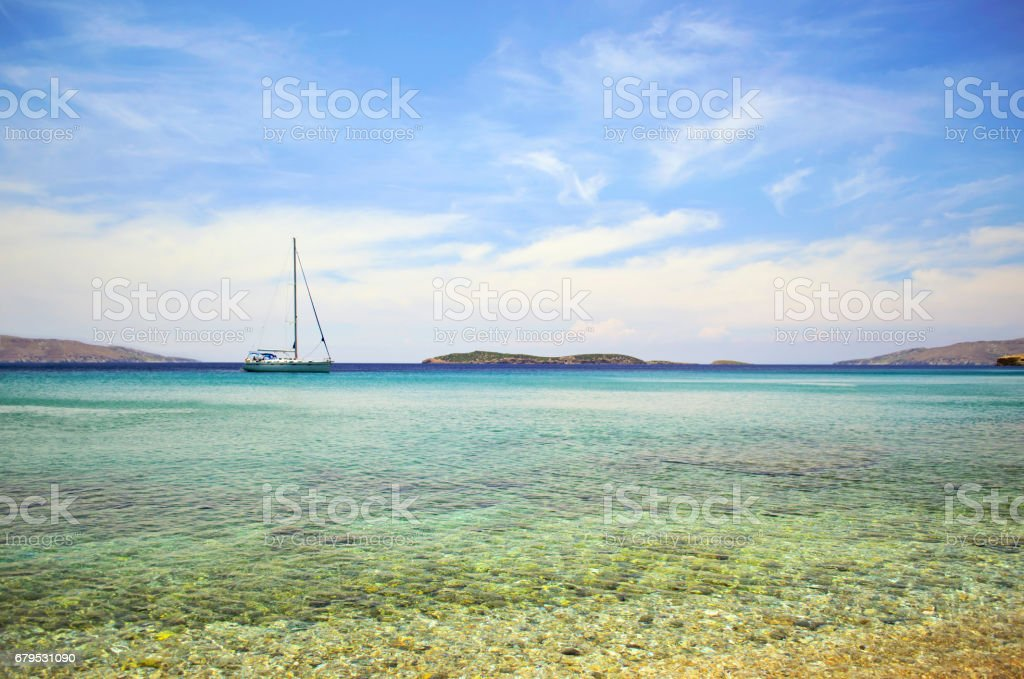 sailboat at Batsi Andros Greece stock photo