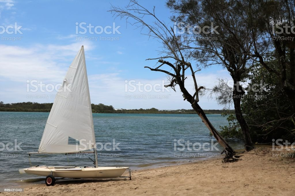 Sailboat at Chambers Island Maroochydore, Sunshine Coast Australia stock photo