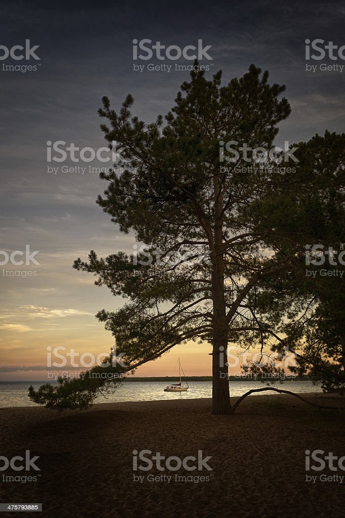 Sailboat at dusk in bay stock photo