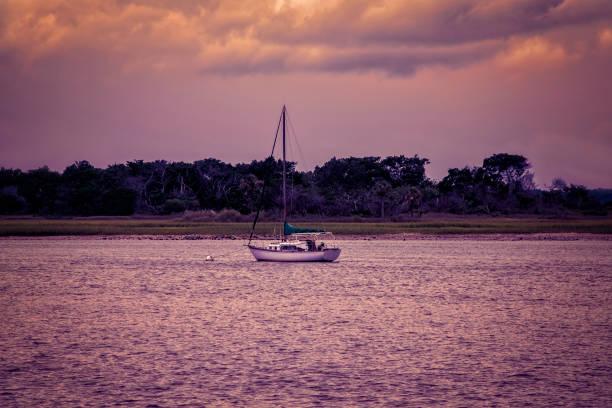 Sailboat at dusk on the Atlantic Ocean