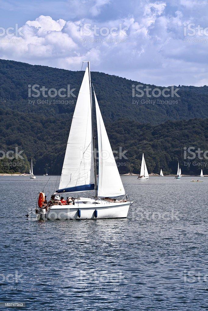 Sailboat at lake royalty-free stock photo