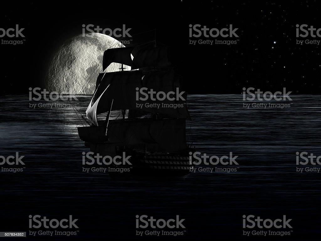 Sailboat at Night Moonlight stock photo
