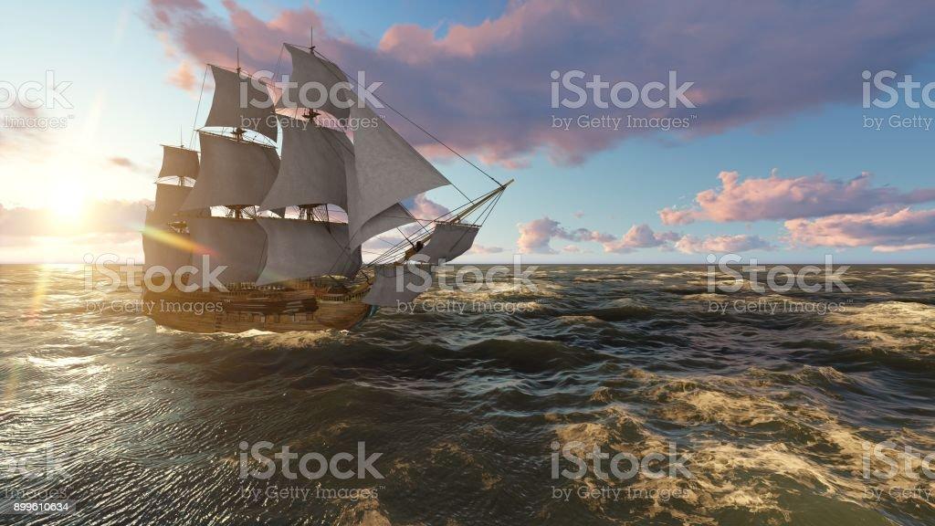 Velero en el mar en la noche en el atardecer ilustración 3d - foto de stock