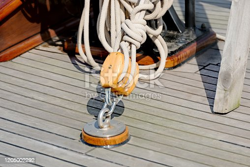 Yacht. Yachting. Sailboat block and rope detail.