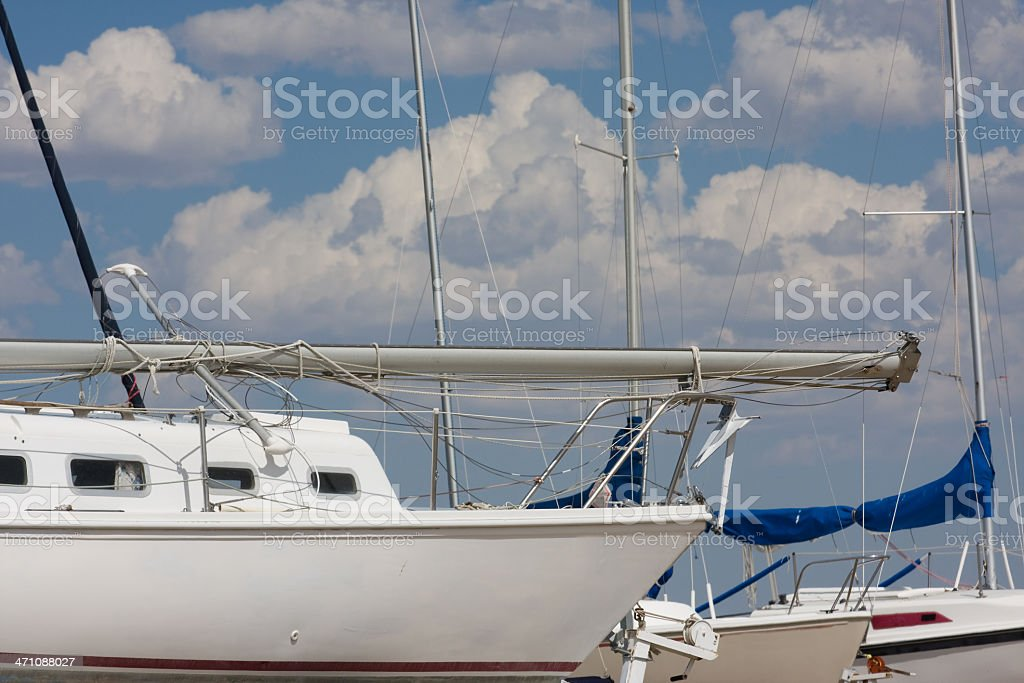 Sailboat Bow in Marina royalty-free stock photo