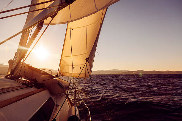 Sailboat crop during the regatta at sunset ocean stock photo