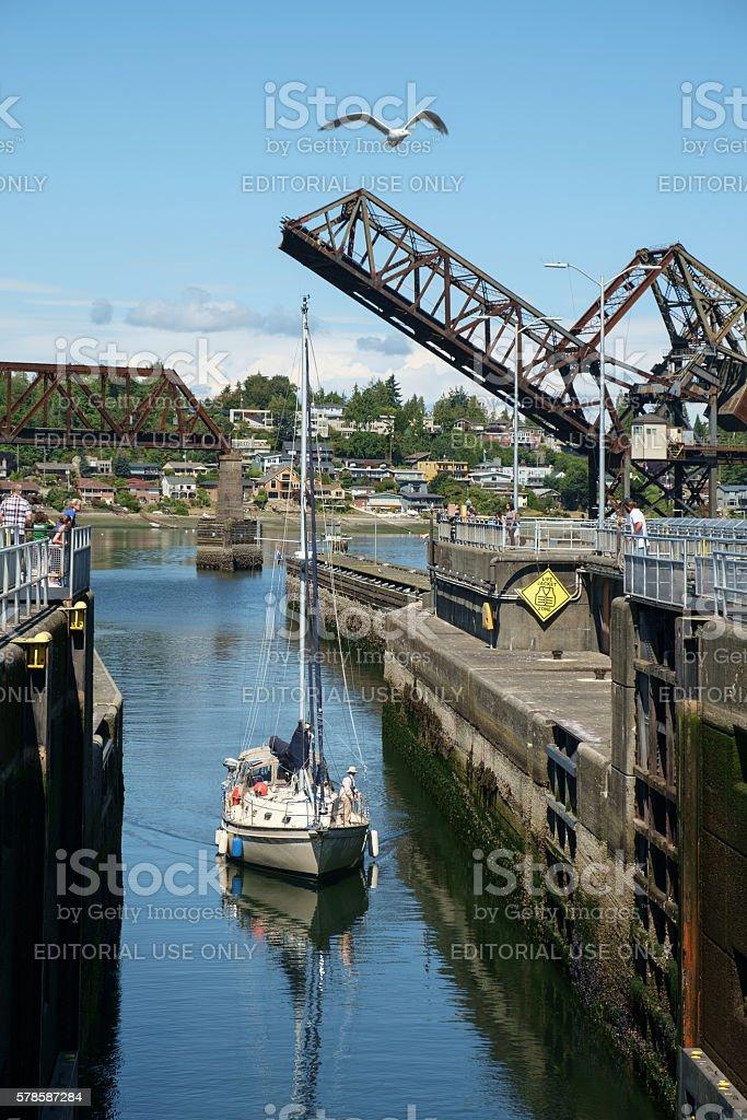 Sailboat entering Ballard Locks, Seattle, USA stock photo