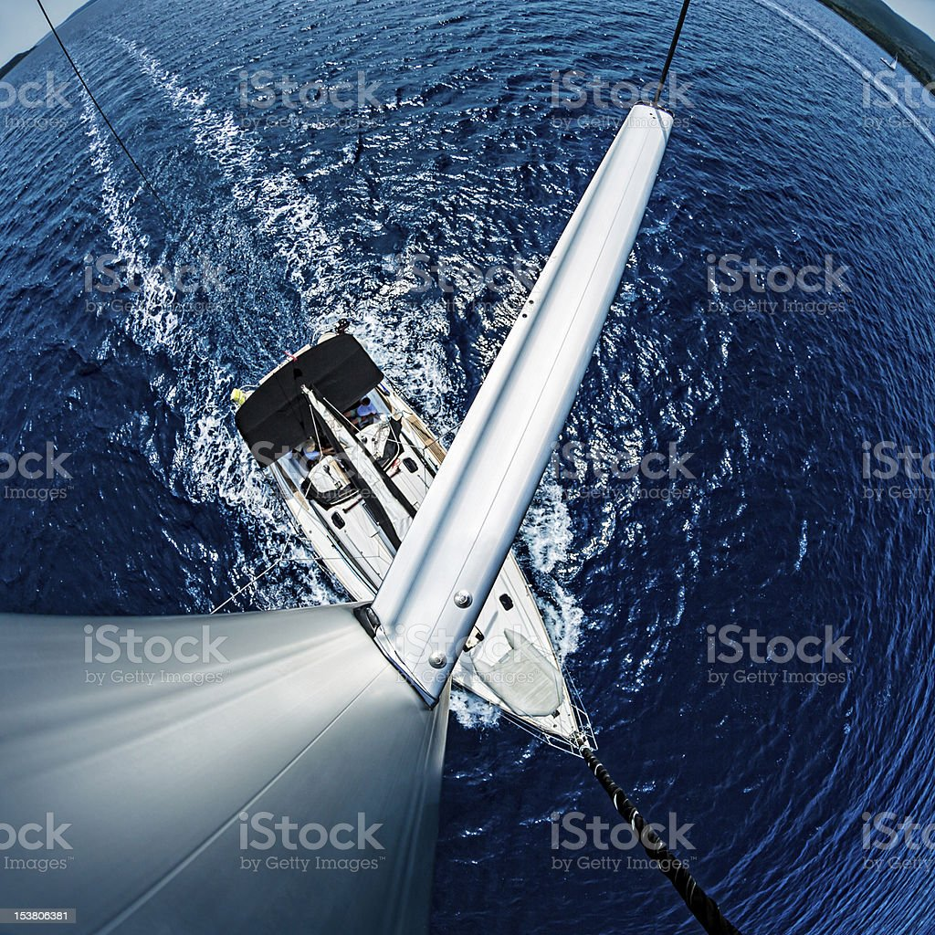 Sailboat from above royalty-free stock photo