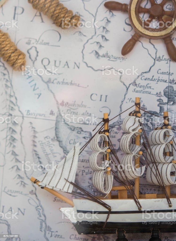 sailboat front Antique pirate map royalty-free stock photo